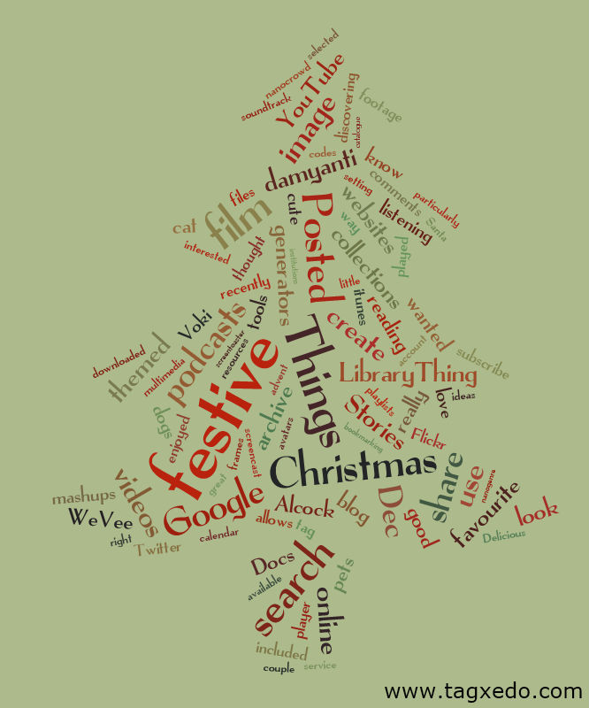Tagxedo word cloud of festive24things